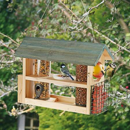 Wooden Bird Feeder Station Happy Beaks