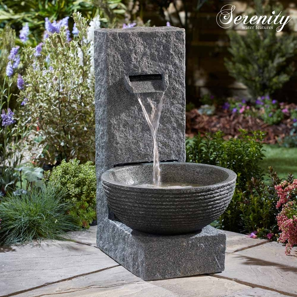 Serenity Stone Effect Cascading Water Bowl Water Feature
